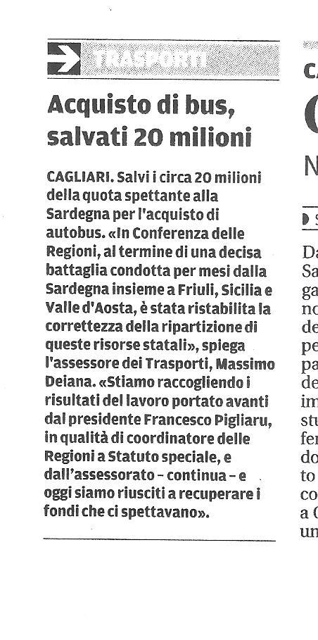 """Articolo di """"La Nuova Sardegna"""" di venerdì 31 luglio 2015 su fondi per i trasporti pubblici"""