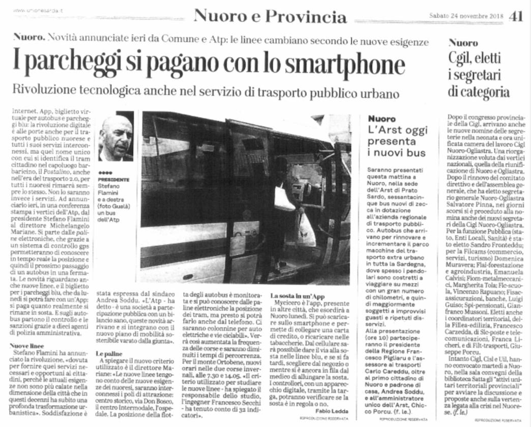 """Articolo Unione Sarda 24/11/2018 - """"I parcheggi si pagano con lo smartphone"""""""